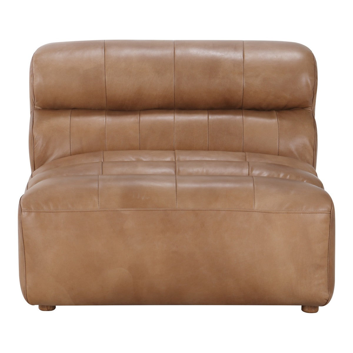 Moe's Home Collection Ramsay Leather Slipper Chair Tan - QN-1009-40 - Moe's Home Collection - Slipper Chairs - Minimal And Modern - 1