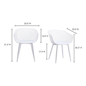 Moe's Home Collection Piazza Outdoor Chair White-Set of Two - QX-1001-18