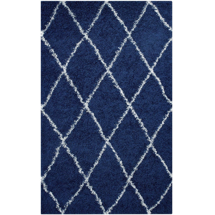 Minimal & Modern Toryn Diamond Lattice 5x8 Shag Area Rug - R-1144-58-Minimal & Modern
