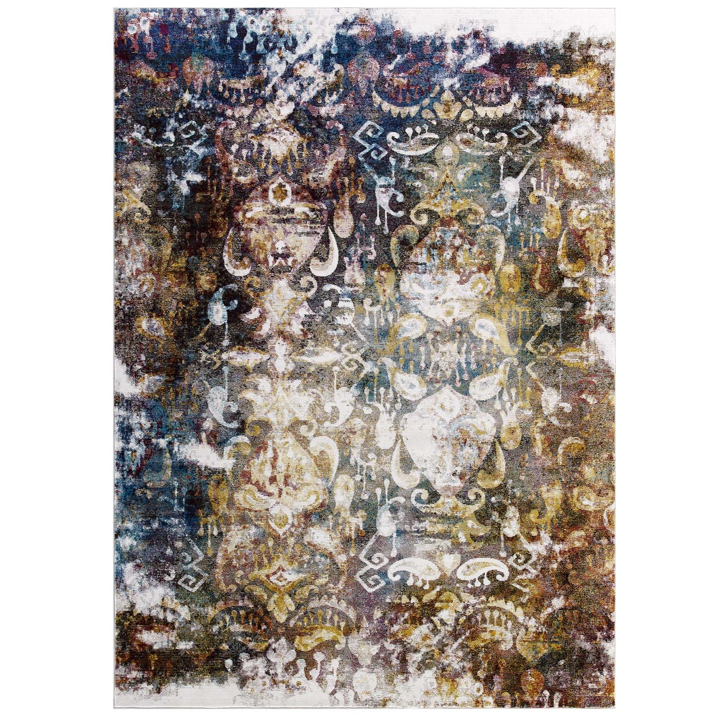 Modway Furniture Modern Success Jayla Transitional Distressed Vintage Floral Moroccan Trellis 8x10 Area Rug - R-1160-810