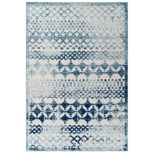 Modway Furniture Modern Reflect Giada Distressed Vintage Abstract Diamond Moroccan Trellis 8x10 Indoor and Outdoor Area Rug - R-1178-810