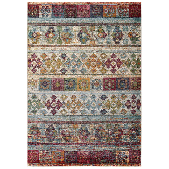 Modway Furniture Modern Tribute Nala Distressed Vintage Floral Lattice 5x8 Area Rug - R-1187-58