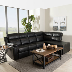 Baxton Studio Roland Modern and Contemporary Black Faux Leather 2-Piece Sectional with Recliner and Storage Chaise Baxton Studio-sectionals-Minimal And Modern - 1