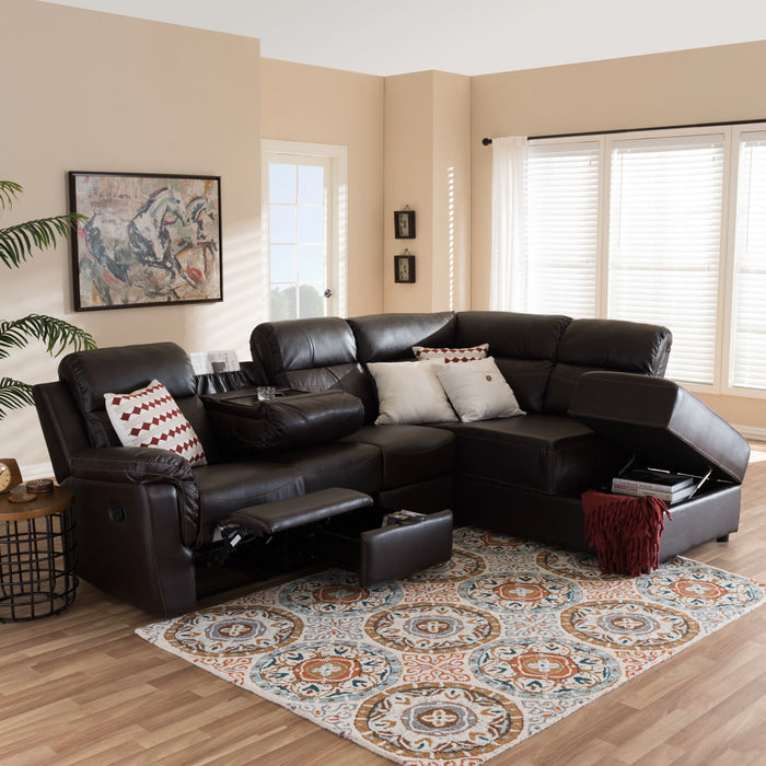 Baxton Studio Roland Modern and Contemporary Dark Brown Faux Leather 2-Piece Sectional with Recliner and Storage Chaise Baxton Studio-sectionals-Minimal And Modern - 1