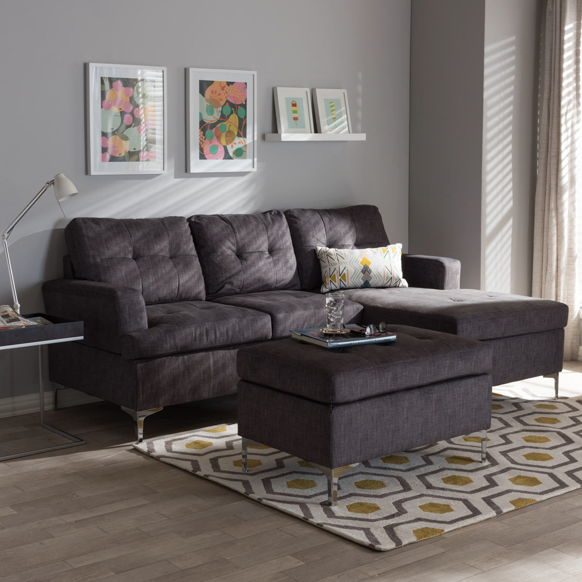 Baxton Studio Riley Modern and Contemporary Grey Fabric Upholstered 3-Piece Sectional Sofa with Ottoman Set Baxton Studio-sectionals-Minimal And Modern - 1