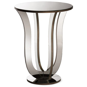 Baxton Studio Kylie Modern and Contemporary Hollywood Regency Glamour Style Mirrored Accent Side Table Baxton Studio-coffee tables-Minimal And Modern - 1
