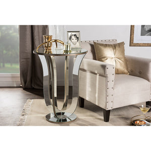 Baxton Studio Kylie Modern and Contemporary Hollywood Regency Glamour Style Mirrored Accent Side Table Baxton Studio-coffee tables-Minimal And Modern - 3