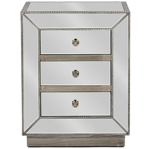 Baxton Studio Currin Contemporary Mirrored 3-Drawer Nightstand Baxton Studio-nightstands-Minimal And Modern - 1