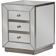 Baxton Studio Currin Contemporary Mirrored 3-Drawer Nightstand Baxton Studio-nightstands-Minimal And Modern - 2