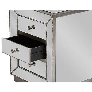 Baxton Studio Currin Contemporary Mirrored 3-Drawer Nightstand Baxton Studio-nightstands-Minimal And Modern - 4