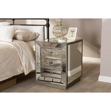 Baxton Studio Currin Contemporary Mirrored 3-Drawer Nightstand Baxton Studio-nightstands-Minimal And Modern - 5