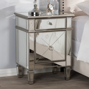 Baxton Studio Claudia Hollywood Regency Glamour Style Mirrored Nightstand Baxton Studio-nightstands-Minimal And Modern - 1
