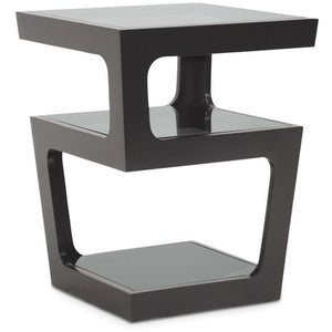 Baxton Studio Clara Black Modern End Table with 3-Tiered Glass Shelves Baxton Studio-coffee tables-Minimal And Modern - 1