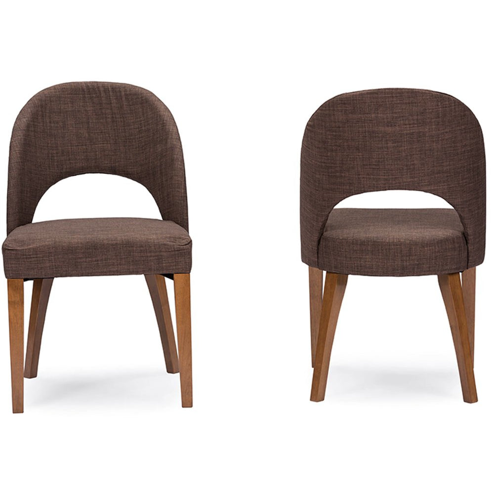 Baxton Studio Lucas Mid-Century Style Brown Fabric Dining Chair (Set of 2) Baxton Studio-dining chair-Minimal And Modern - 1