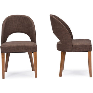 Baxton Studio Lucas Mid-Century Style Brown Fabric Dining Chair (Set of 2) Baxton Studio-dining chair-Minimal And Modern - 2