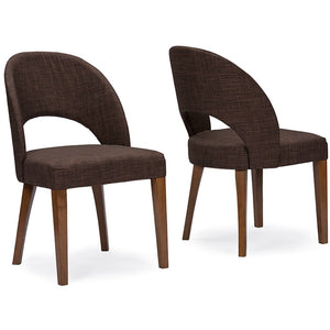 Baxton Studio Lucas Mid-Century Style Brown Fabric Dining Chair (Set of 2) Baxton Studio-dining chair-Minimal And Modern - 3