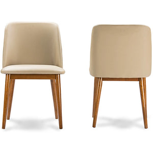 "Baxton Studio Lavin Mid-Century ""Walnut"" Light Brown/Beige Faux Leather Dining Chair (Set of 2) Baxton Studio-dining chair-Minimal And Modern - 2"