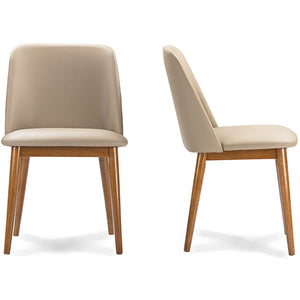 "Baxton Studio Lavin Mid-Century ""Walnut"" Light Brown/Beige Faux Leather Dining Chair (Set of 2) Baxton Studio-dining chair-Minimal And Modern - 3"