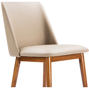 "Baxton Studio Lavin Mid-Century ""Walnut"" Light Brown/Beige Faux Leather Dining Chair (Set of 2) Baxton Studio-dining chair-Minimal And Modern - 4"