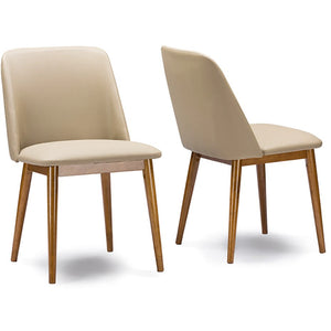 "Baxton Studio Lavin Mid-Century ""Walnut"" Light Brown/Beige Faux Leather Dining Chair (Set of 2) Baxton Studio-dining chair-Minimal And Modern - 1"