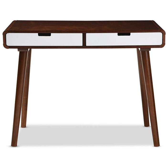 Baxton Studio Casarano Mid-century Modern Dark Walnut and White Two-tone Finish 2-drawer Wood Home Office Writing Desk Baxton Studio-Desks-Minimal And Modern - 1