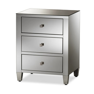 Baxton Studio Rosalind Hollywood Regency Glamour Style Mirrored 3-Drawer Nightstand (Set of 2) Baxton Studio-nightstands-Minimal And Modern - 2