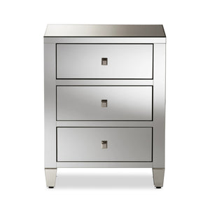 Baxton Studio Rosalind Hollywood Regency Glamour Style Mirrored 3-Drawer Nightstand (Set of 2) Baxton Studio-nightstands-Minimal And Modern - 4