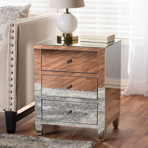 Baxton Studio Rosalind Hollywood Regency Glamour Style Mirrored 3-Drawer Nightstand (Set of 2) Baxton Studio-nightstands-Minimal And Modern - 6