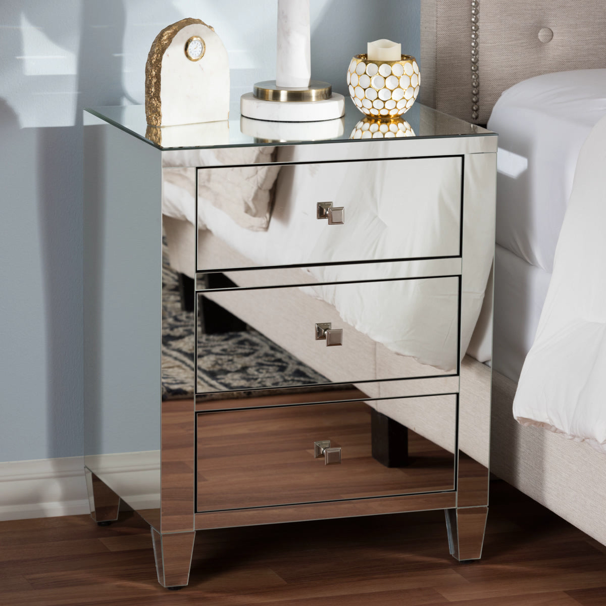 Baxton Studio Rosalind Hollywood Regency Glamour Style Mirrored 3-Drawer Nightstand (Set of 2) Baxton Studio-nightstands-Minimal And Modern - 1