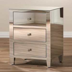 Baxton Studio Rosalind Hollywood Regency Glamour Style Mirrored 3-Drawer Nightstand (Set of 2) Baxton Studio-nightstands-Minimal And Modern - 7