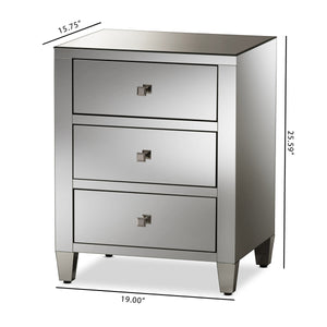 Baxton Studio Rosalind Hollywood Regency Glamour Style Mirrored 3-Drawer Nightstand (Set of 2) Baxton Studio-nightstands-Minimal And Modern - 8