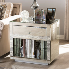 Baxton Studio Melanie Hollywood Regency Glamour Style Mirrored 1-Drawer 1-Shelf Nightstand (Set of 2) Baxton Studio-nightstands-Minimal And Modern - 6