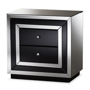 Baxton Studio Cecilia Hollywood Regency Glamour Style Mirrored 2-Drawer Nightstand Baxton Studio-nightstands-Minimal And Modern - 2