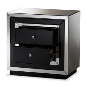 Baxton Studio Cecilia Hollywood Regency Glamour Style Mirrored 2-Drawer Nightstand Baxton Studio-nightstands-Minimal And Modern - 3