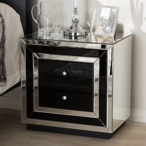 Baxton Studio Cecilia Hollywood Regency Glamour Style Mirrored 2-Drawer Nightstand Baxton Studio-nightstands-Minimal And Modern - 1