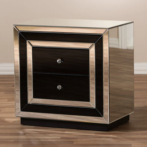 Baxton Studio Cecilia Hollywood Regency Glamour Style Mirrored 2-Drawer Nightstand Baxton Studio-nightstands-Minimal And Modern - 7