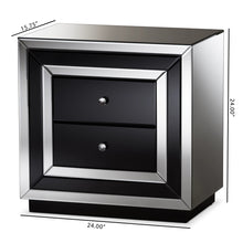 Baxton Studio Cecilia Hollywood Regency Glamour Style Mirrored 2-Drawer Nightstand Baxton Studio-nightstands-Minimal And Modern - 8