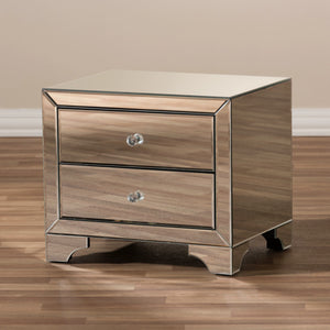 Baxton Studio Farrah Hollywood Regency Glamour Style Mirrored 2-Drawer Nightstand Baxton Studio-nightstands-Minimal And Modern - 6