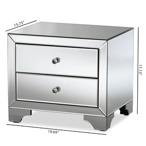 Baxton Studio Farrah Hollywood Regency Glamour Style Mirrored 2-Drawer Nightstand Baxton Studio-nightstands-Minimal And Modern - 7