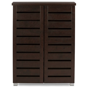 Baxton Studio Adalwin Modern and Contemporary 2-Door Dark Brown Wooden Entryway Shoes Storage Cabinet Baxton Studio--Minimal And Modern - 1