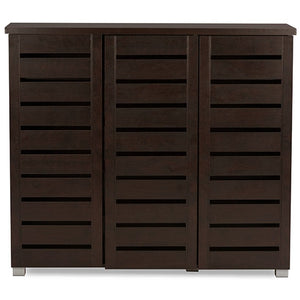 Baxton Studio Adalwin Modern and Contemporary 3-Door Dark Brown Wooden Entryway Shoes Storage Cabinet Baxton Studio--Minimal And Modern - 1