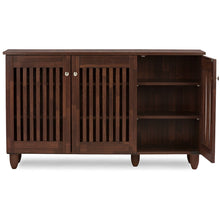 Baxton Studio Fernanda Modern and Contemporary 3-Door Oak Brown Wooden Entryway Shoes Storage Wide Cabinet Baxton Studio--Minimal And Modern - 3