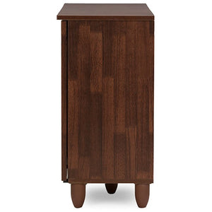Baxton Studio Fernanda Modern and Contemporary 3-Door Oak Brown Wooden Entryway Shoes Storage Wide Cabinet Baxton Studio--Minimal And Modern - 5