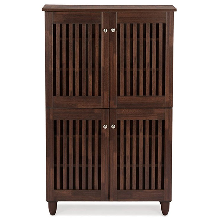 Baxton Studio Fernanda Modern and Contemporary 4-Door Oak Brown Wooden Entryway Shoes Storage Tall Cabinet Baxton Studio--Minimal And Modern - 1