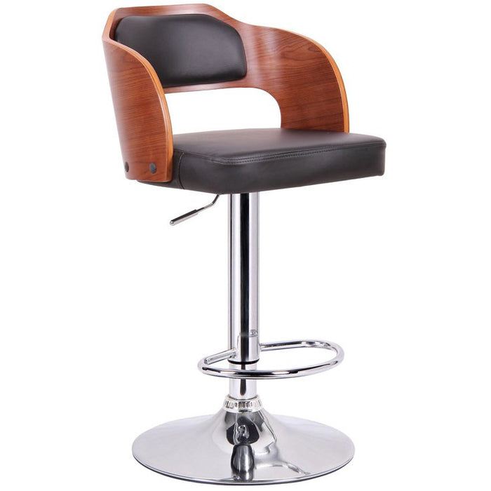 Baxton Studio Sitka Walnut and Black Modern Bar Stool Baxton Studio-Bar Stools-Minimal And Modern - 1