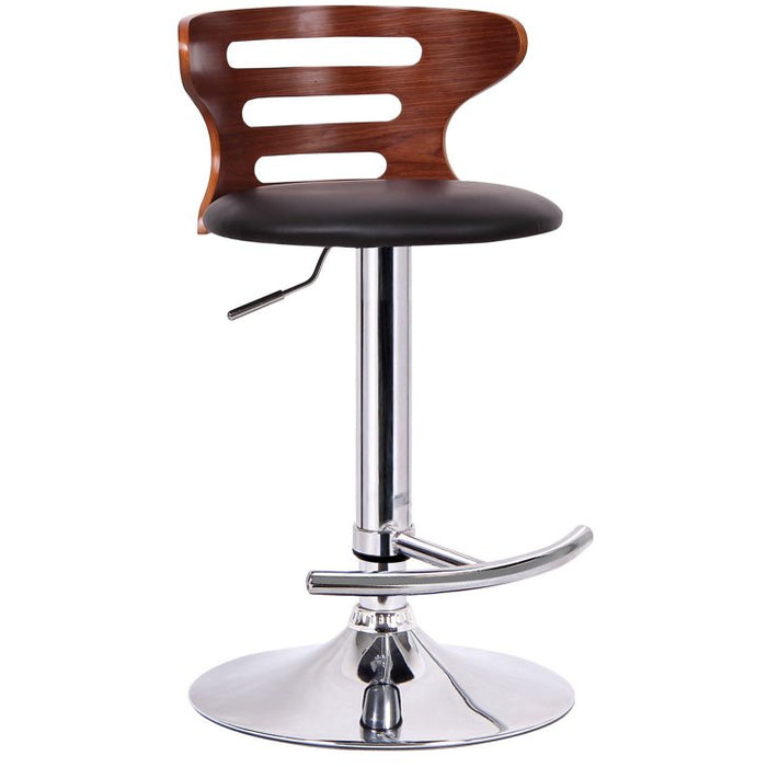 Baxton Studio Buell Walnut and Black Modern Bar Stool Baxton Studio-Bar Stools-Minimal And Modern - 1