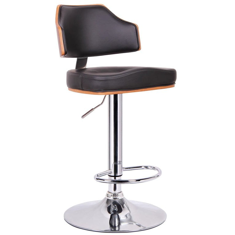 Baxton Studio Cabell Walnut and Black Modern Bar Stool  Baxton Studio-Bar Stools-Minimal And Modern - 1