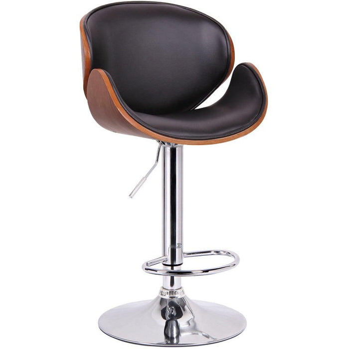 Baxton Studio Crocus Walnut and Black Modern Bar Stool Baxton Studio-Bar Stools-Minimal And Modern - 1