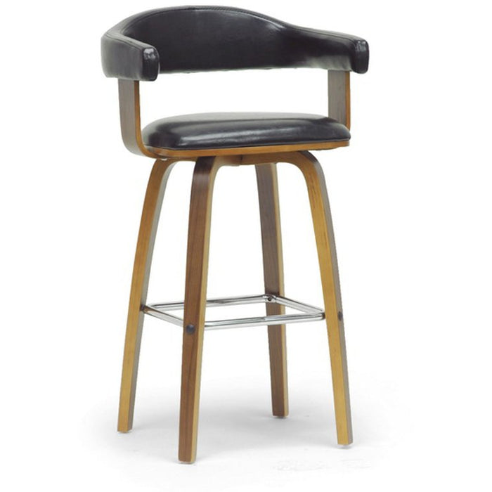 Baxton Studio Quigley Walnut and Black Modern Counter Stool Baxton Studio-Bar Stools-Minimal And Modern - 1