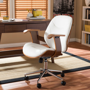 Baxton Studio Rathburn Modern and Contemporary White and Walnut Office Chair Baxton Studio-office chairs-Minimal And Modern - 1